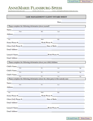 Counseling intake form template initial counseling forms for Client management plan template